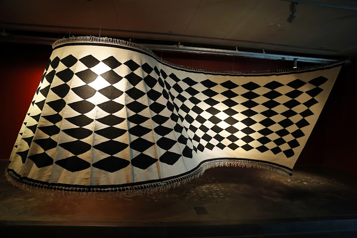 Flying Rug; Chandrashekhar Bheda (In collaboration with Mahender Singh); weaved and ribbed cotton; 120.0 x 420.0 inches (at) and 96.0 x 252.0 inches (displayed); New Delhi, 2014