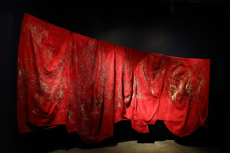 SHE LL; Swati Kalsi; cotton and metallic thread on silk; dimensions variable; New Delhi / Bihar, 2014' artisans: Anu Kumari , Rupa Kumari, Poonam Kumari, Komal Kumari, Kajal Kumari, Neha Kumari, Asmita Kumari, Amrita Kumari, Shalu Kumari, Sudhira Devi, Anita Devi, Juli Kumari