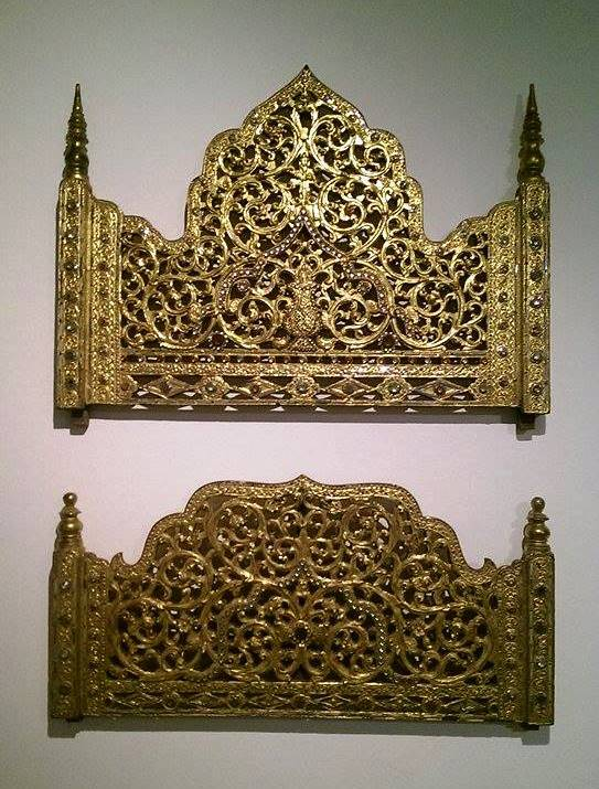 19th century gold gilt carved wood bedhead panels, Traditional, Myanmar