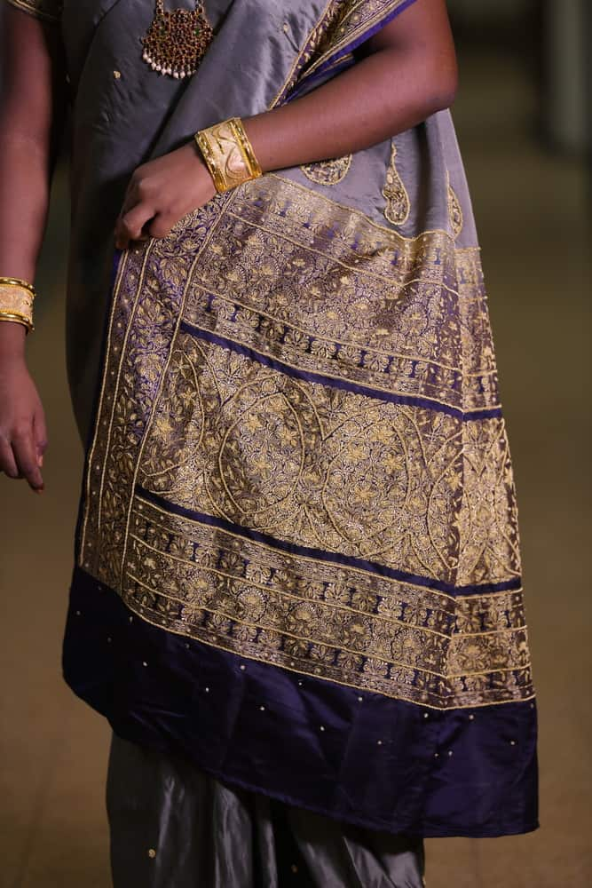 Zardosi golden metallic embroidery on a Kanjivaram silk sari