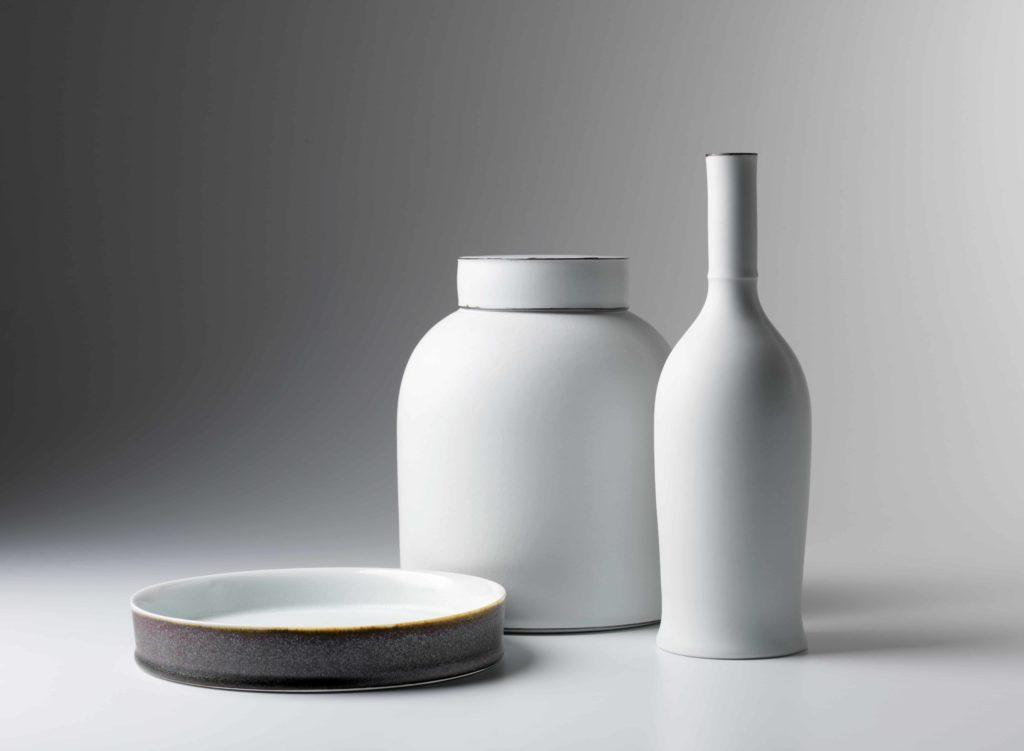 Kirsten Coelho, Low Bowl, Ginger Jar and Bottle, porcelain matt white glaze, banded iron oxide, saturated iron glaze, Low Bowl 4cm H x 20cm diam, Ginger Jar 21.5cm x 17cm diam, Bottle 27cm x 8.5cm diam, 2015