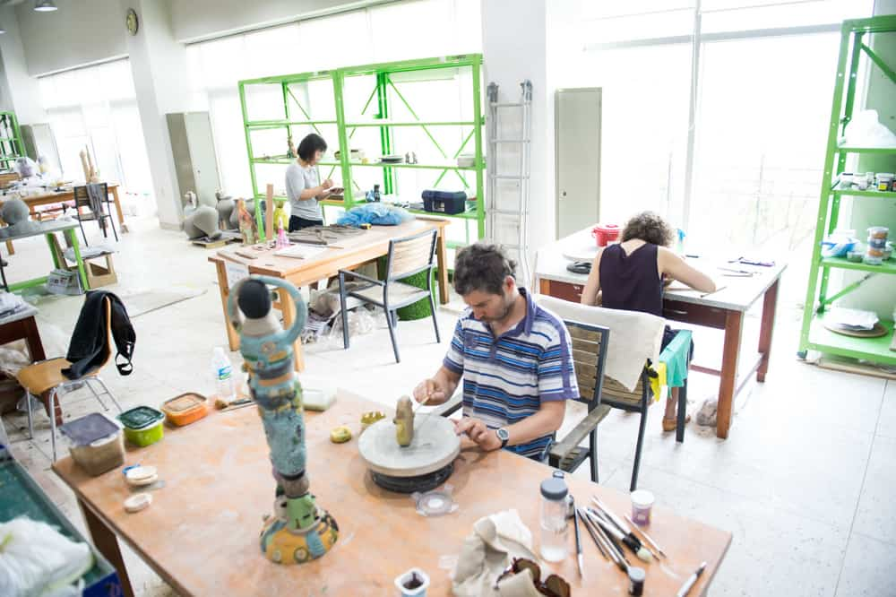 Studio shot- Stephen Bird (foreground), Han Young-Sil, Sophia Nuske (back to camera)