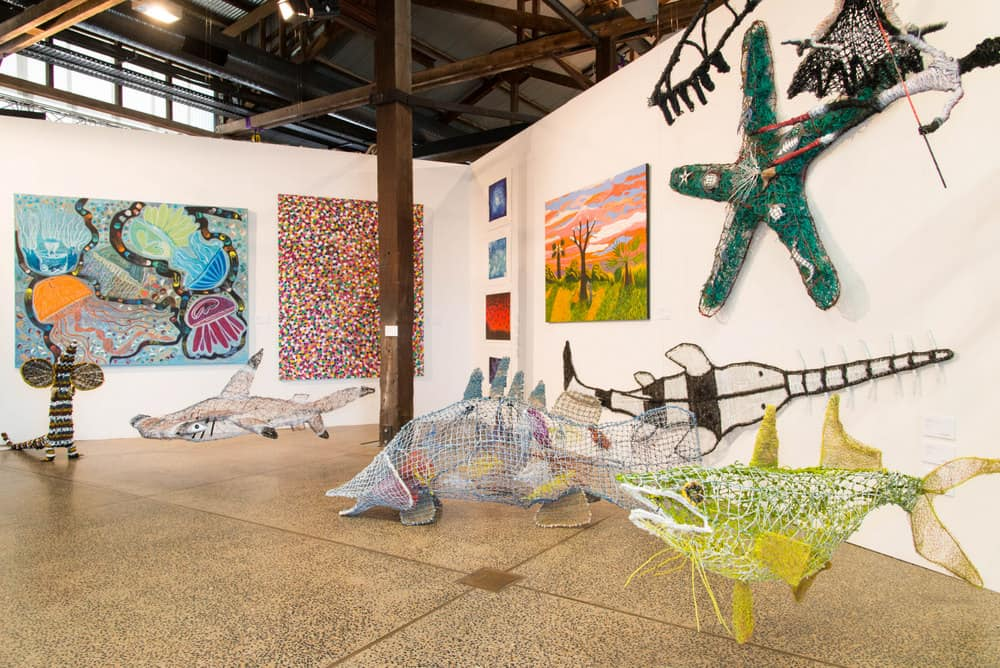 Pormpuraaw Art Centre display CIAF, photo courtesy CIAF 2015, photo: Kerry Trapnell