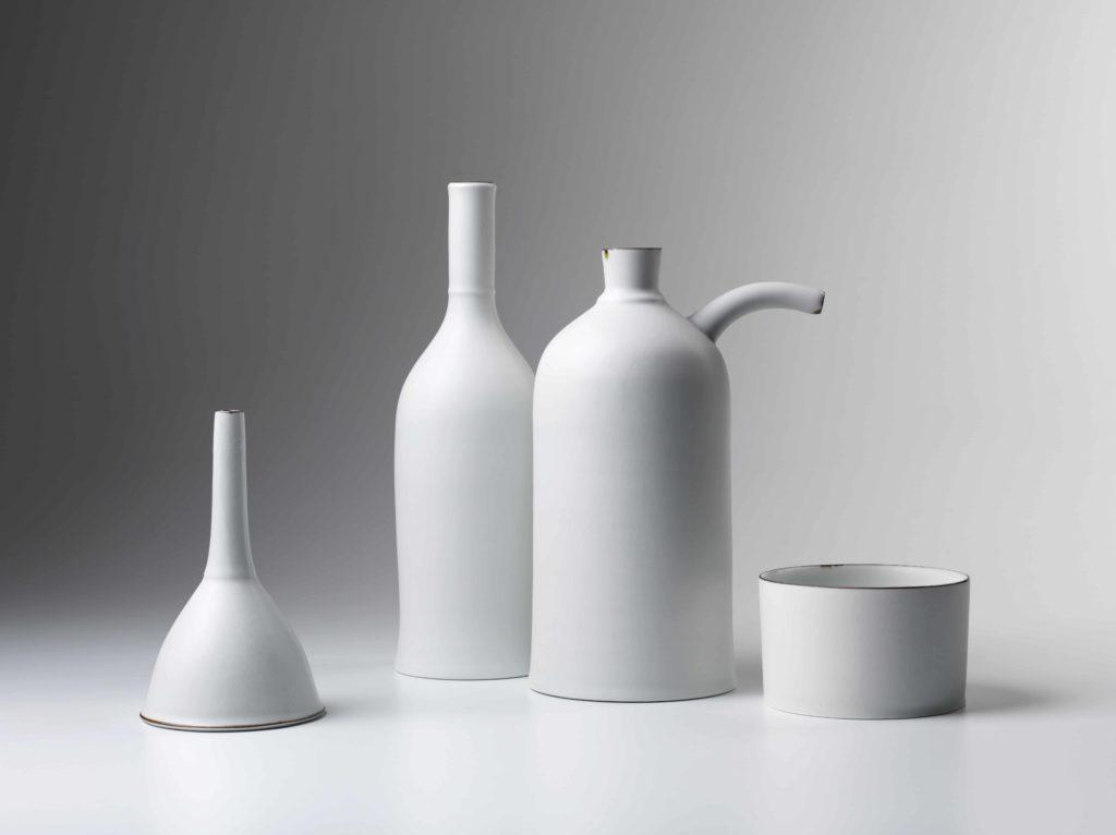 Funnel, Bottle, Oil Can, Bowl, porcelain matt white glaze, banded iron oxide,  Funnel 15.4cm H x 9.2cm diam, Bottle 27.5 cm H x 8.5cm diam, Oil can 25cm H  x 11cm diam, Bowl 7cm H x 10.5 cm diam, 2015