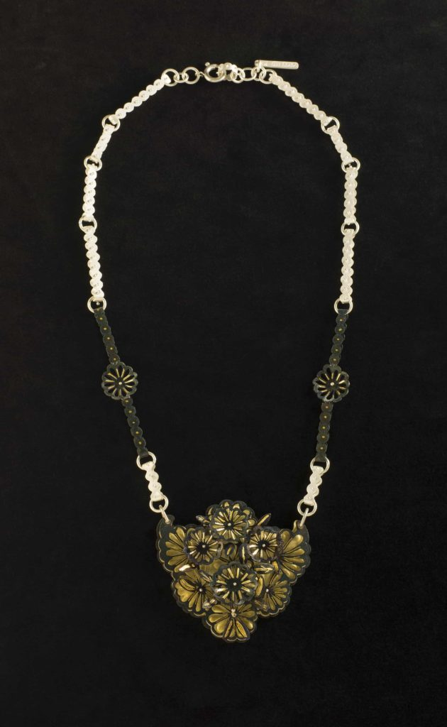 2013/81/1 Necklace, 'Blossom', sterling silver / silver / gold / steel, designed and made by Joungmee Do, Melbourne, Victoria, Australia, 2011