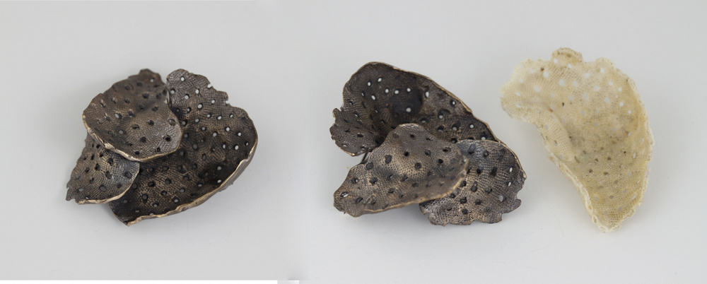 Marisa Molin, Colony Of Zooids residing, bronze, sterling silver and stainless steel (brooch), photo: Mel De Ruyter