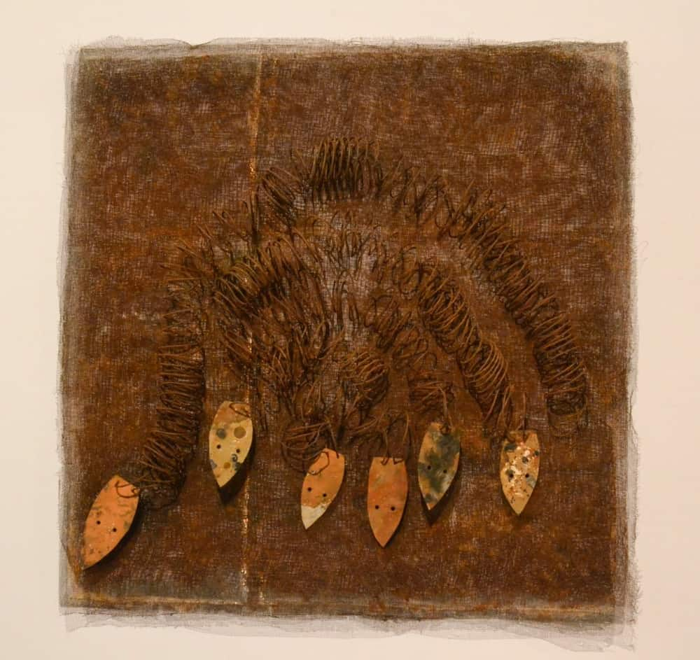 Lorraine Connelly-Northey, Possum skin cloak Mooloomoon Lagoon, Medium: Rusted gauze, springs, iron and tie wire, 2015
