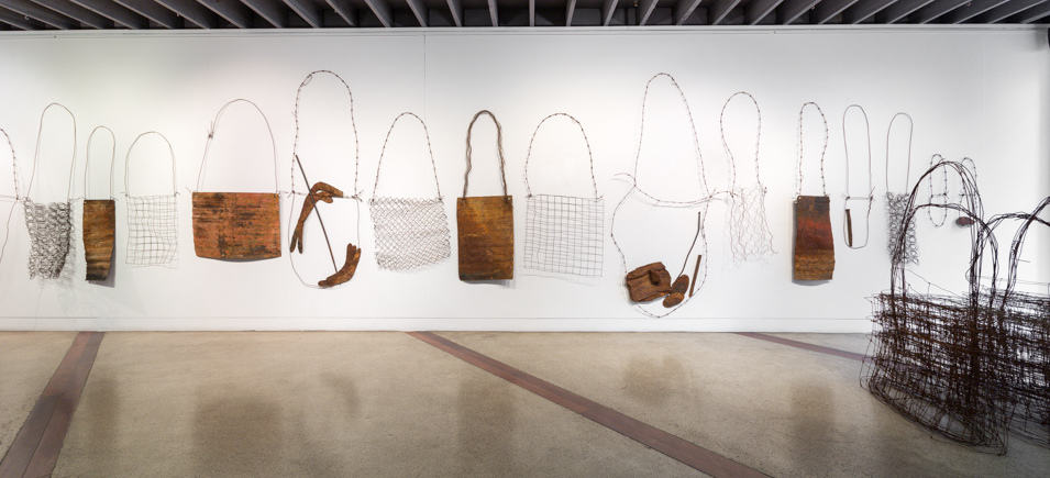 Lorraine Connelly-Northey, 'Ground Drawing with Found Materials' (installation detail), 2015, cast offs, corrugated iron, bed springs and fencing wire. Photographer: James Henry. Courtesy of the Koorie Heritage Trust