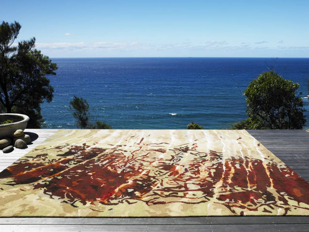 Caroline Baum, Red ripple, wool and silk, original photo of snail patterns shot in Wombarra NSW, Australia; rug interpretation woven in Nepal, 3.2 x 2 metres, photo: Tim Robinson