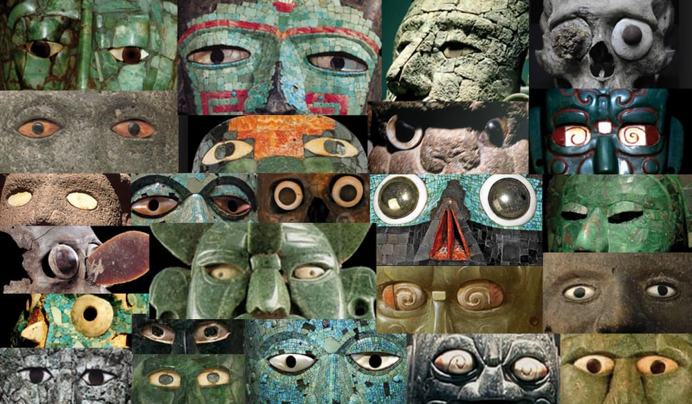 This collage made by the author of the text, it exemplifies the idea of the use of materials for the sake of movement and reflection of light. This are the eyes section of masks found in underworld, they where offerings displaying a range of colors and materials that respond to a sum of symbolisms still far from being understood, yet the eyes respond clearly to light, becoming alive with movement. In other cases we see a spiral drawn in the sclerotic symbolizing the same idea.