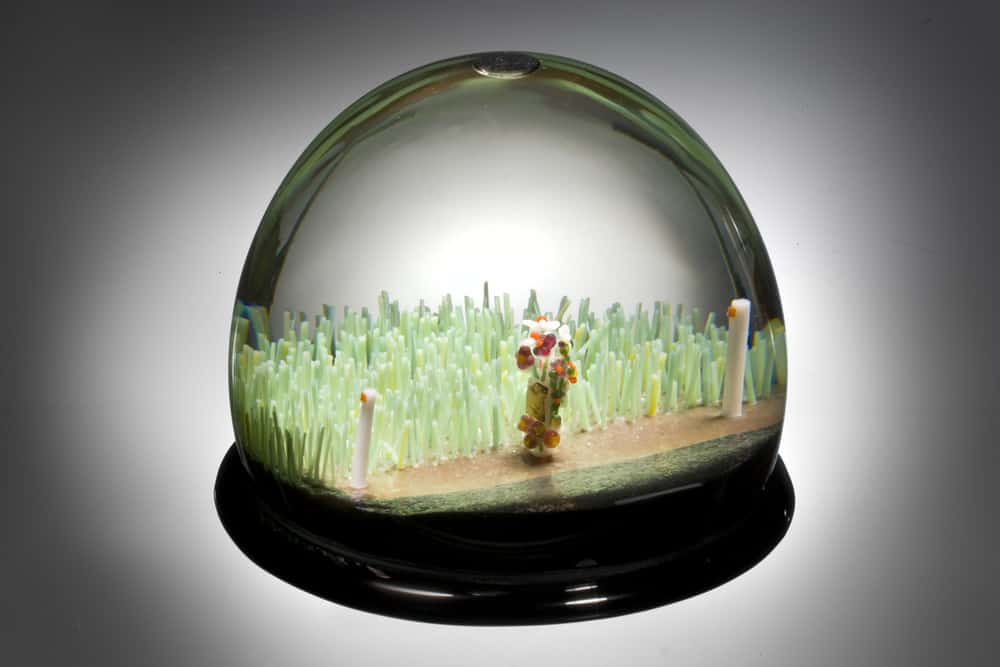 Ian Mowbray, Stopped, hand carved glass, glass domes, glass snow, water, 120mm diameter x 80mm height, photo: David Mcarthur