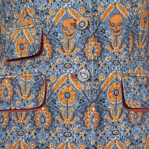 This is a detail of an Ajrakh inspired jacket on display at the V&A