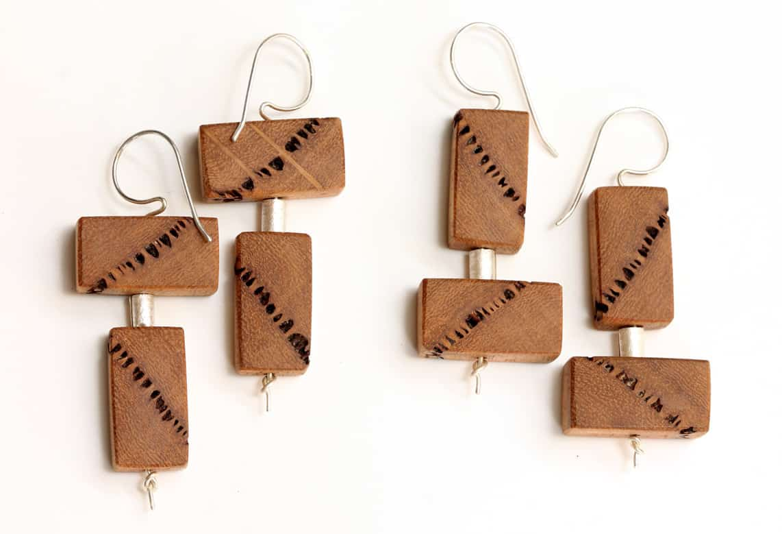 Blandine Halle,  The Native, 2016 earrings, Upcycled Marri wood, sterling silver, 62 x 21 x 8 mm, photo by Blandine Hallé, made in Fremantle, Western Australia