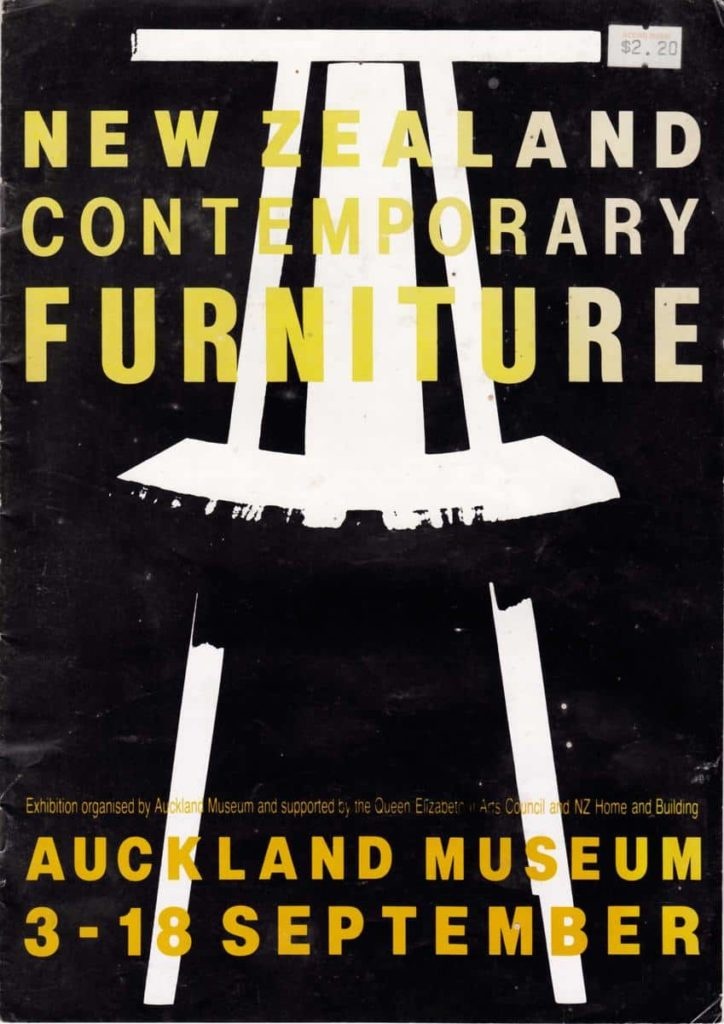 New Zealand Contemporary Furniture Show, 1988, poster Humphrey Ikin chair