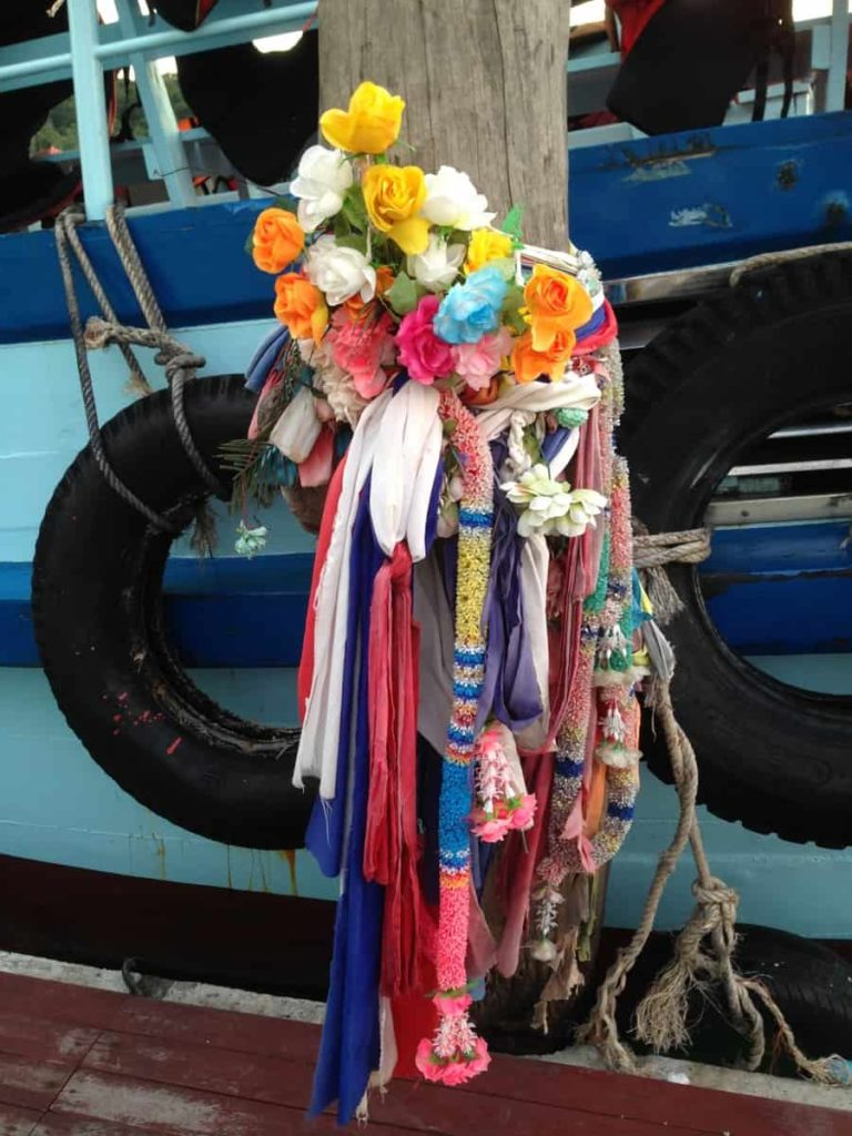 Phuang Malai tethered to a mooring on the Bang Bao jetty, Koh Chang, Thailand, 2014. Photo: Jess Dare.