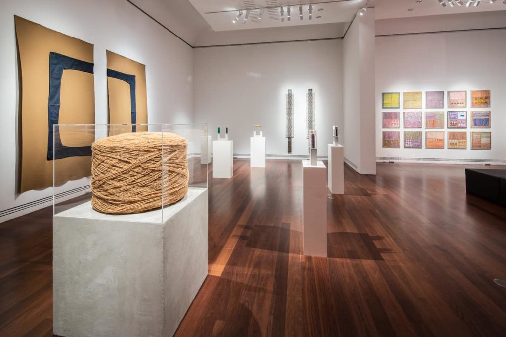 Installation view 2016 Adelaide Biennial of Australian Art: Magic Object featuring works by Louise Haselton and Loongkoonan, Art Gallery of South Australia, Adelaide