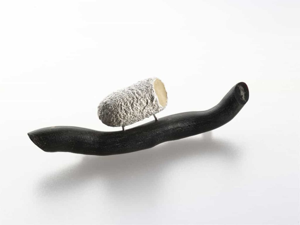 Martina Dempf, Riding, brooch, 2010, coral, silver, cocoon cast, silver mounted, 5 x 4 x 2 cm