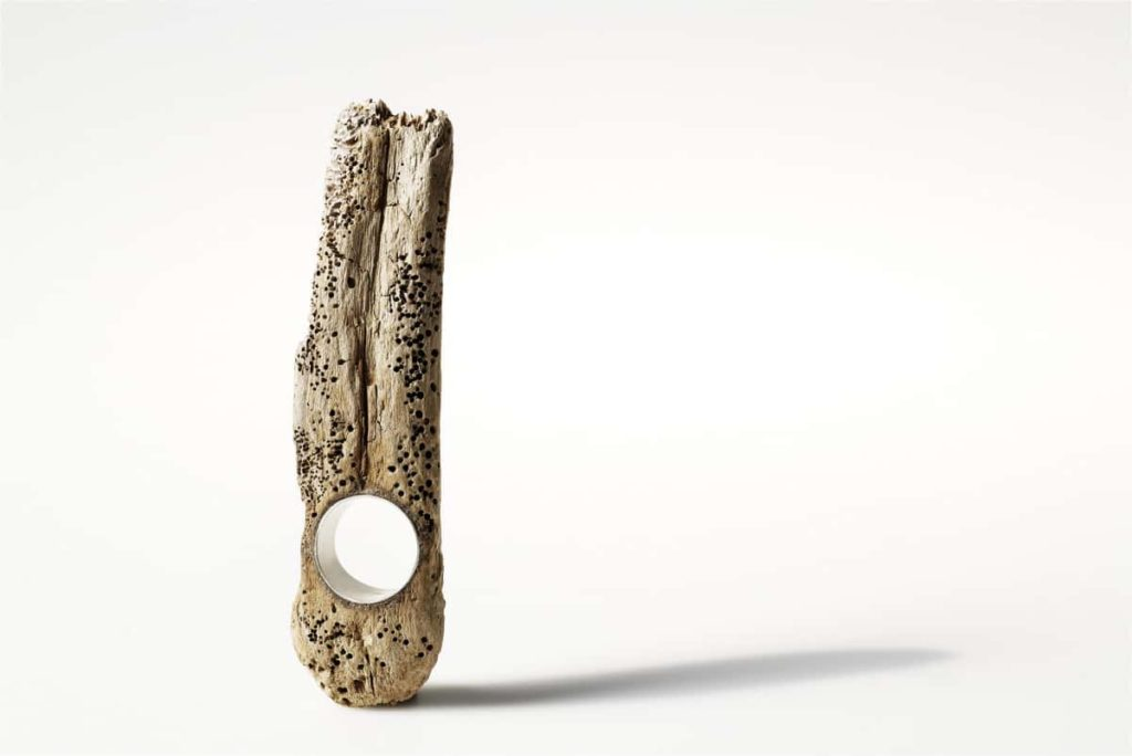 Martina Dempf, Finger of God, ring, 2010, drift wood, silver, wood carved, silver mounted, 11 x 3 x 2 cm