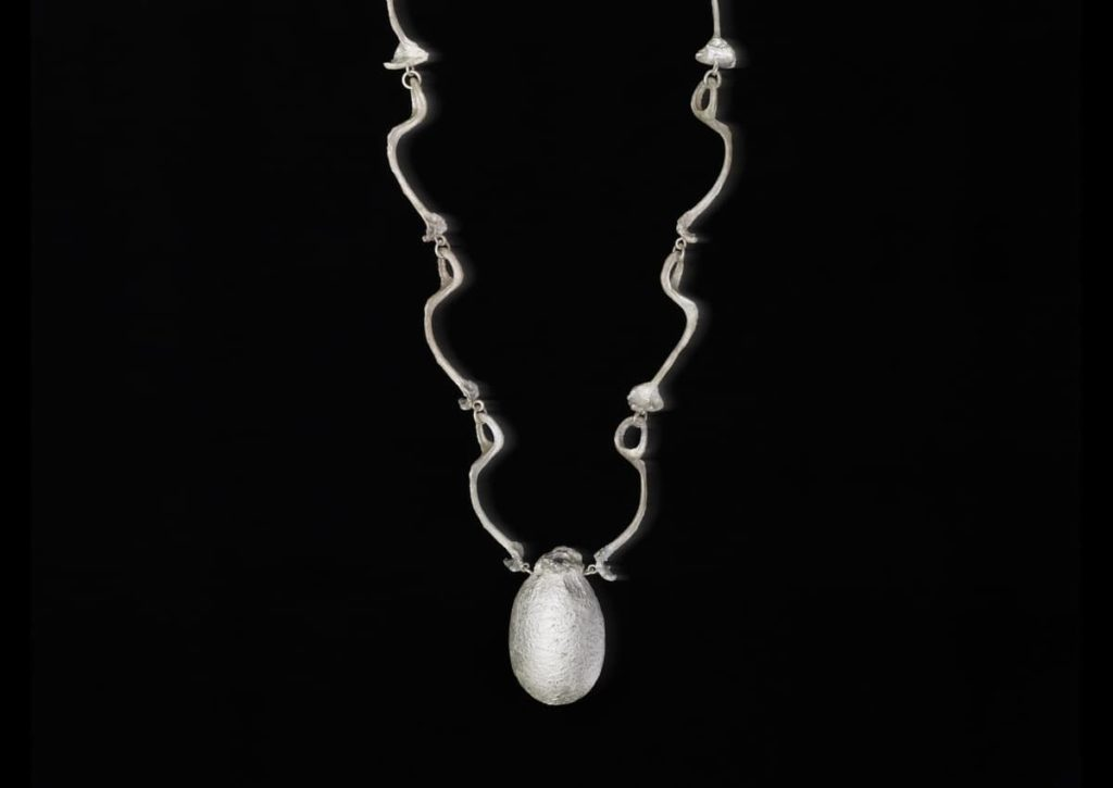 Martina Dempf, Cocooning II, necklace, 2014, silver, Tussah silkworm, Antheraea Mylitta, cocoons, cast and mounted silver, 4 x 6 x 60 cm