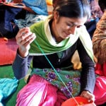 Neesha at the Balran Centre, doing Bagh Phulkari, photo by Gopika Nath