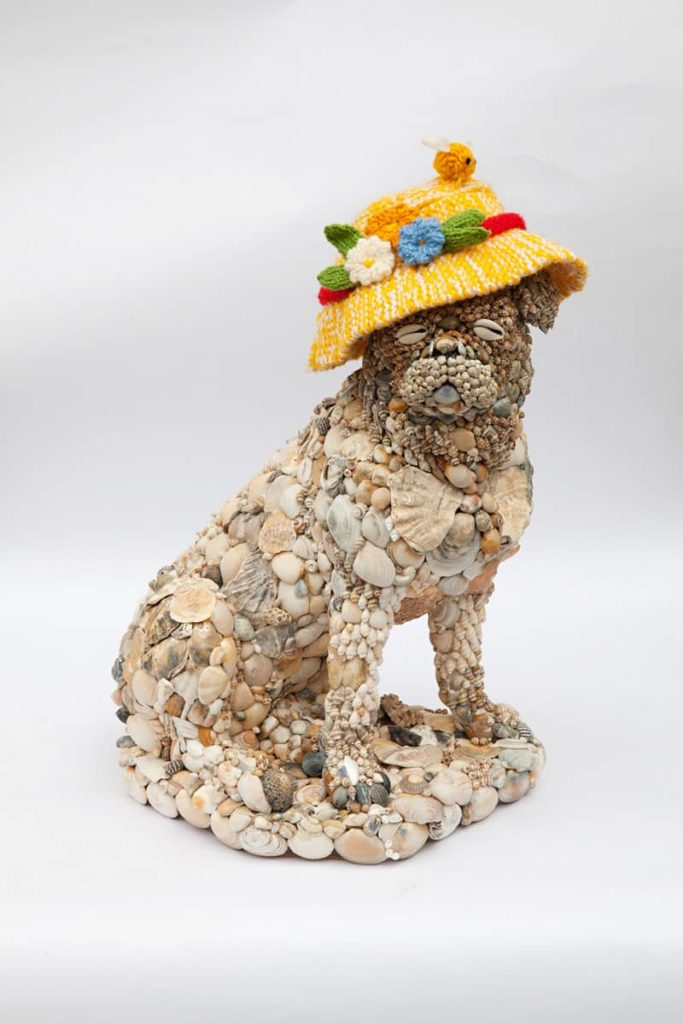 Natalie Thomas, Puppy3, shells, plaster, adhesive and wool, 34 x 41cm x 21cm, photo by Claire Rae, made in Australia