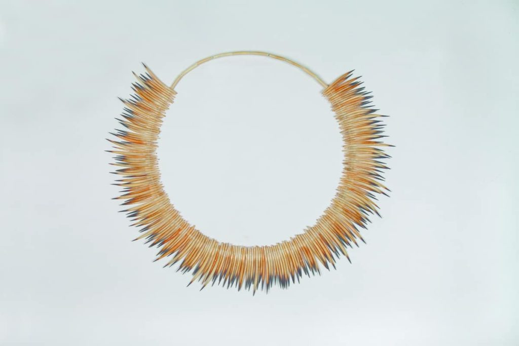 Lola Greeno, menna necklace, 2013, echidna quills, wire, diameter 350mm, photo by John Leeming QVMAG