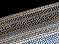dani ortman, blue heron (after), muga silk, organic cotton hand dyed with natural indigo, nutmeg – colour grown organic cotton, cream – organic pima cotton, 208.28 x 55.88cm, photo: dani ortman, made in manitoulin island, canada