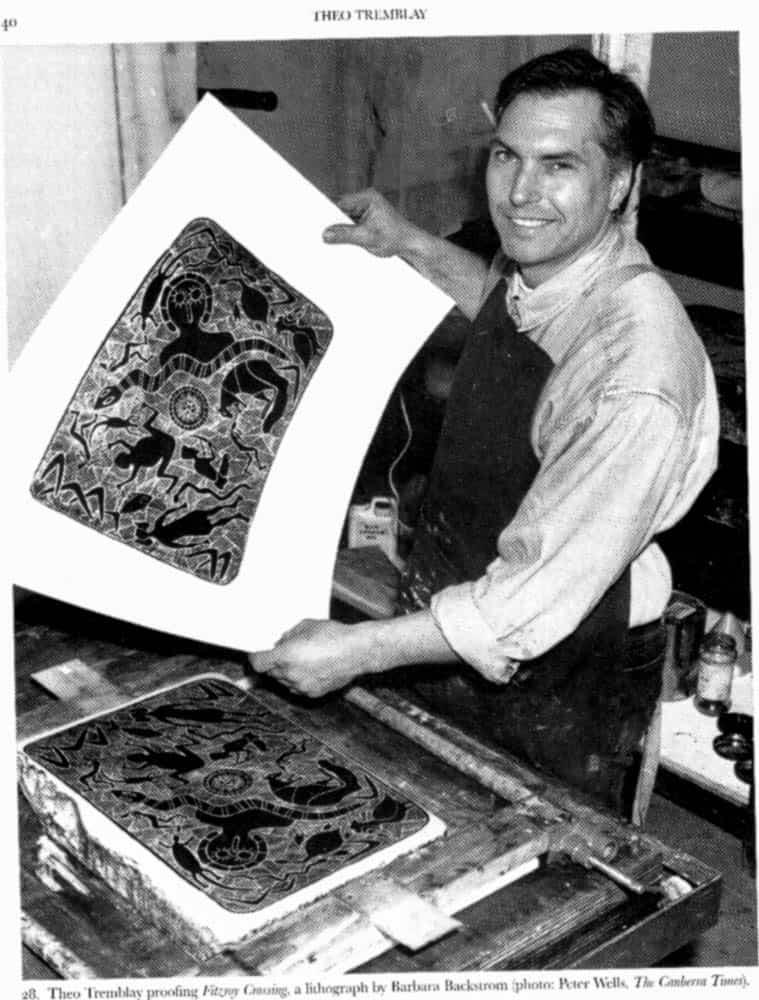Theo Tremblay, 1992, printing a lithograph for Kalumburu artist Barbara Backstrom