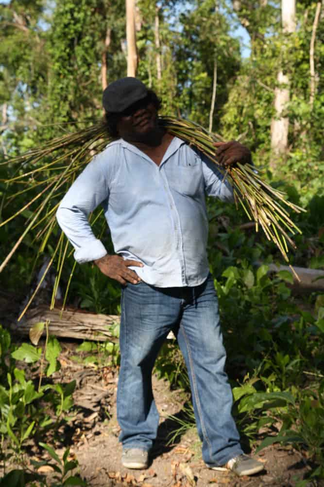 Abe Muriata collecting lawyer cane, Bilyana, 2012, photo: Valerie Keenan, Girringun Aboriginal Art Centre