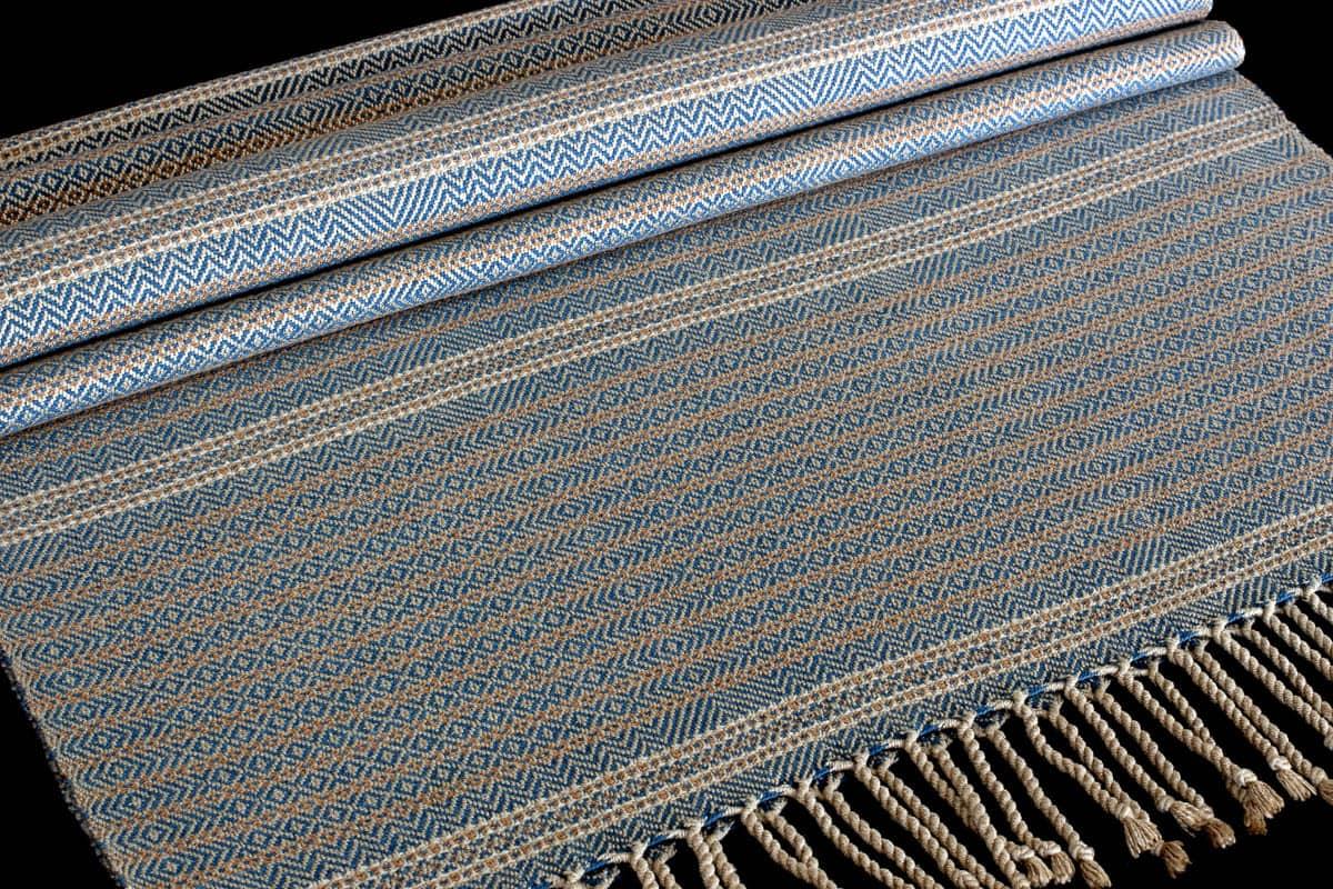 Dani Ortman, Blue Heron (After), Muga silk, Organic cotton hand dyed with natural indigo, Nutmeg - Colour grown organic cotton, Cream - Organic pima cotton, 208.28 x 55.88cm, photo: Dani Ortman, made in Manitoulin Island, Canada