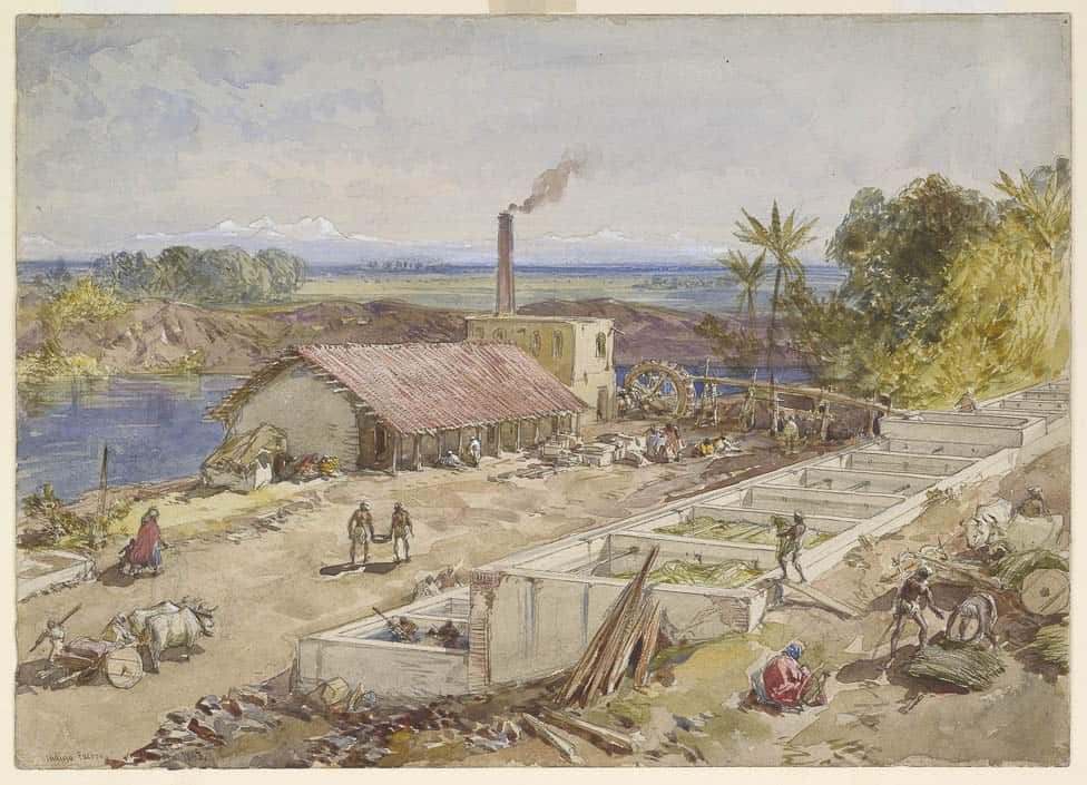 An indigo factory in Bengal, a watercolor by William Simpson, 1863