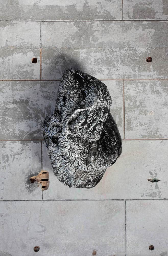 Carli Holcomb, Constellate (After: detail 1), Ecoresin, India ink, paper, glue, spackle, plaster, coal slag, paint, steel, and water, 76.2 x 121.92 x 91.44cm, photo: David Hunter Hale, made in Virginia, USA