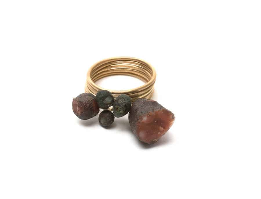 Nicky Hepburn, Meentheena ring, 2015, 5 Stack, 18ct yellow gold, found carnelian, agate, quartz