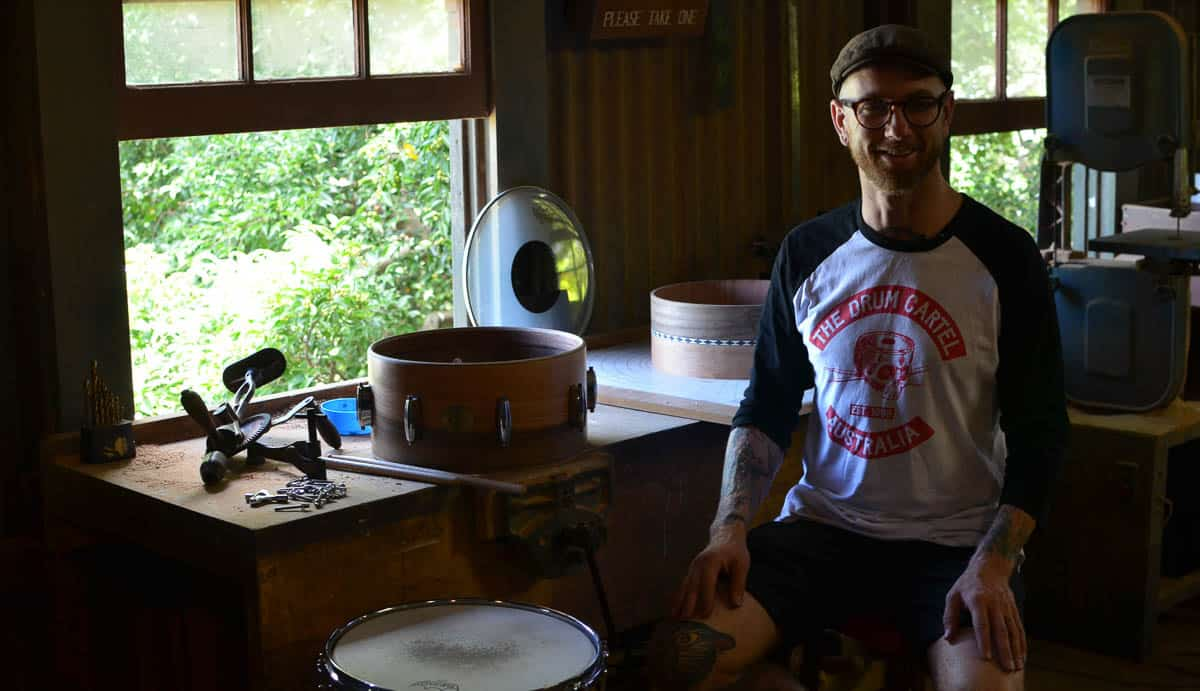 Drum maker, Peter Bosworth in his studio. Image courtesy of artisan.