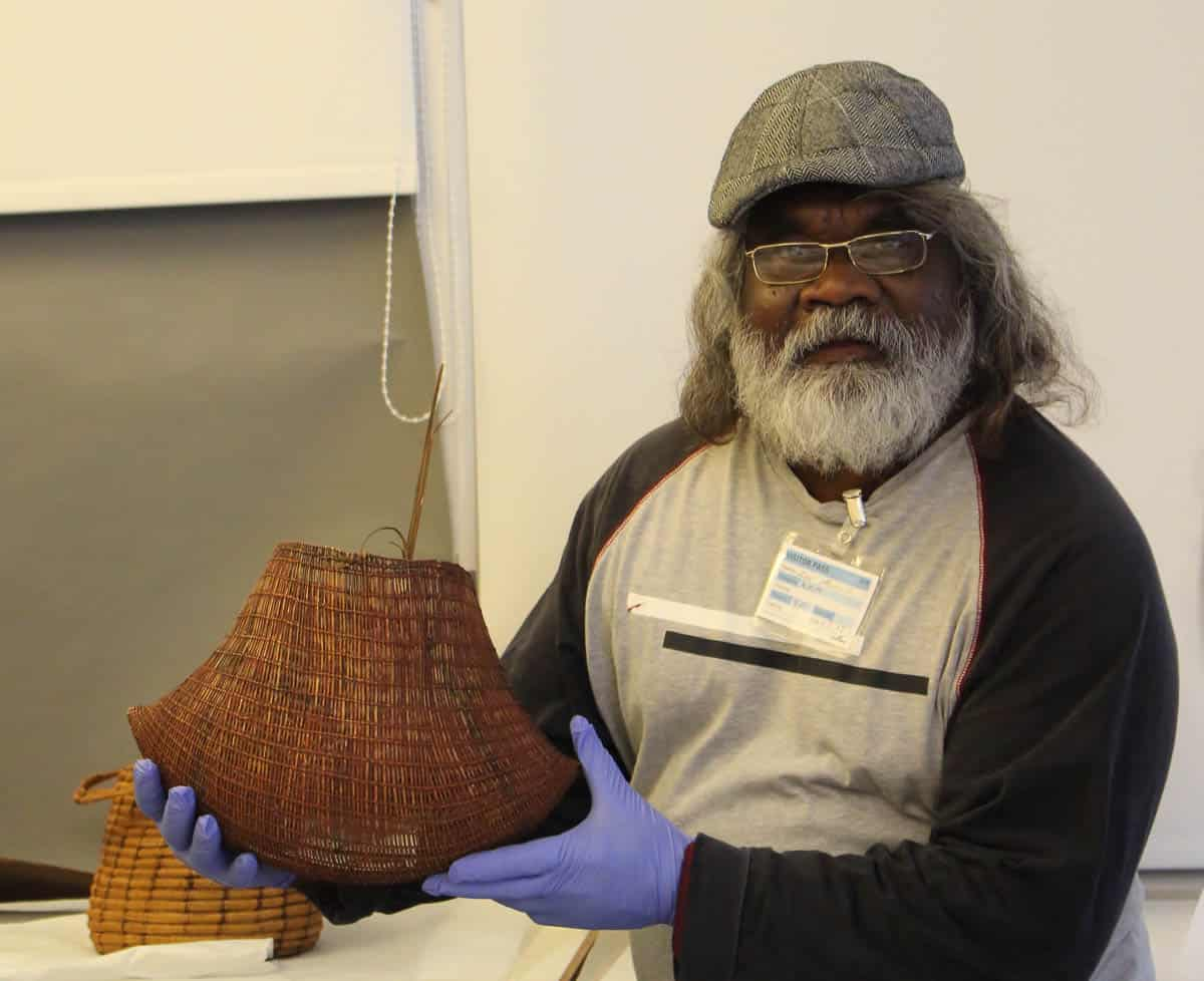 Abe Muriata with very old Jawun in British Museum collection, 2015, photo: Valerie Keenan, Girringun Aboriginal Art Centre