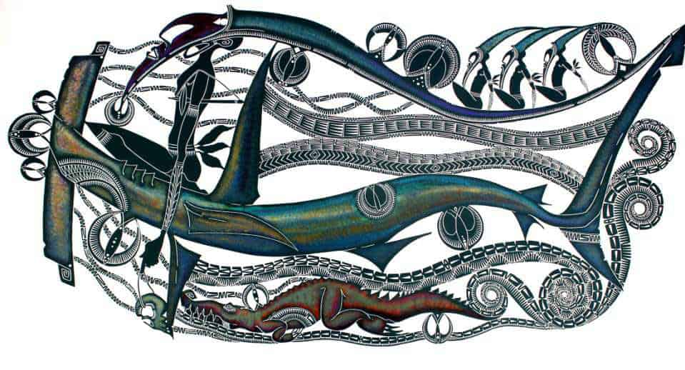 Kei Kalak (Glen Mackie), The coming of Sigai, 2016, hand coloured linocut, 100x200 cm