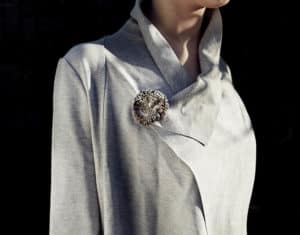 Marisa Molin, Kelp Track Wandering (After: worn), Sterling silver, Kelp, stainless steel brooch, 5 x 5.3 x 2.1cm, photo: Michael Comninus, made in King Island, Tasmania