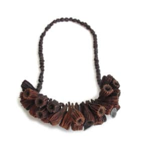 Melinda Young, Ruffled Neckpiece (After: detail), 2015, Ridged Fruited Mallee, oxidised 925 silver, garnets, copper