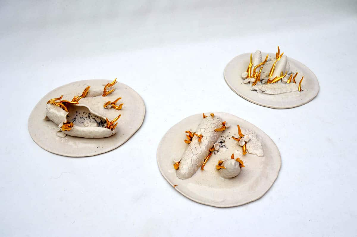 Marcelo Fernández Mainardi, Primordial Soup (After 4), Porcelain, glaze, gold luster, volcanic ash, 80 x 80 x 10cm, photo: Marcelo Fernández Mainardi, made in Buenos Aires, Argentina