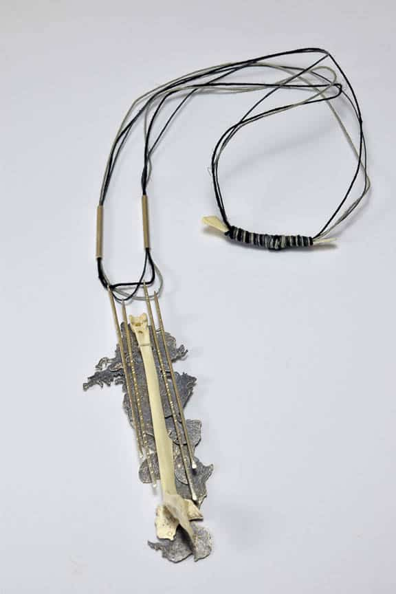 Jesika Dawnn, Silt Dream Series - Bone (After), 2016, Sterling silver, bird bones, hemp cord, 4 x 12 x 2cm, photo: Jesika Dawnn, made in Byron Bay, Australia