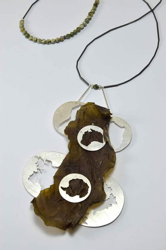 Jesika Dawnn, Silt Dream Series - Brine (After), 2016, Sterling silver, seaweed, Rhyolite beads, titanium wire, 8 x 13.5 x 1cm, photo: Jesika Dawnn, made in Byron Bay, Australia