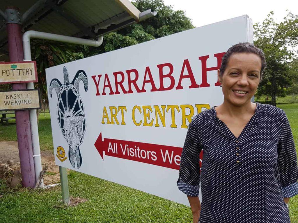 Shannon Brett at the Yarrabah Art Centre