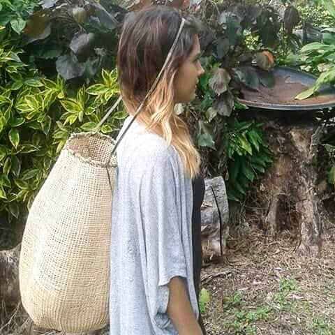Delissa Walker wearing the kankan basket in the traditional way.