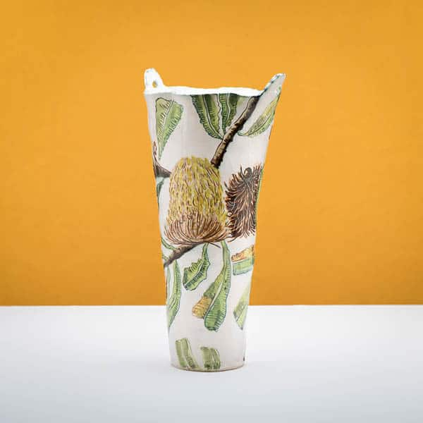 Fiona Hiscock, Banksia Serata Vessel and Water Pitcher,  2015, Stoneware clay with porcelain slip, 50 x 23 x 23, photo Chris Sanders, 2. Banskia Serrata vessel with handles, 2015, Stoneware clay with porcelain slip, 46 x 23 x 23, photo Chris Sanders,  3. Two Banksia Serrata Jars, 2015, Stoneware clay with porcelain slip, 31 x 16 x 16 cm, photo Chris Sanders