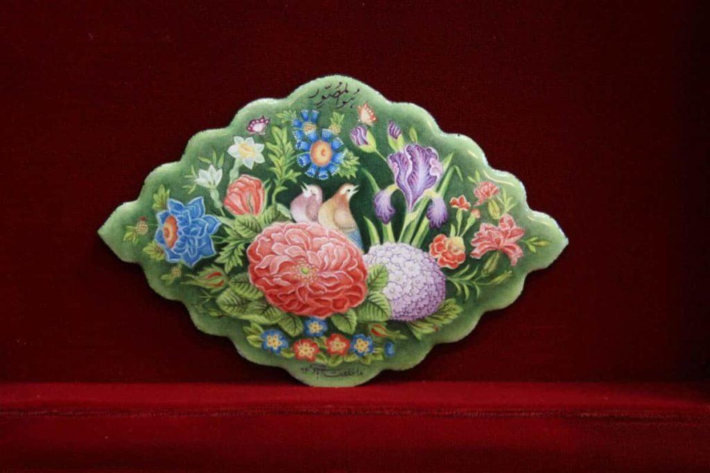 Neda Khalatabadi, painting enamel on copper, 11 x 8 cm
