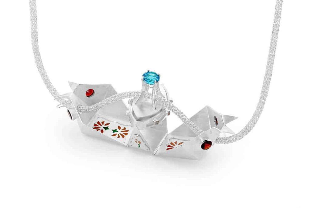 Mehrnoosh Ganji, Lotus Transporter, 2014, Sterling silver, fine silver, enamel, garnet, blue topaz, citrine, dimensions (6 x 3 x 4cm)