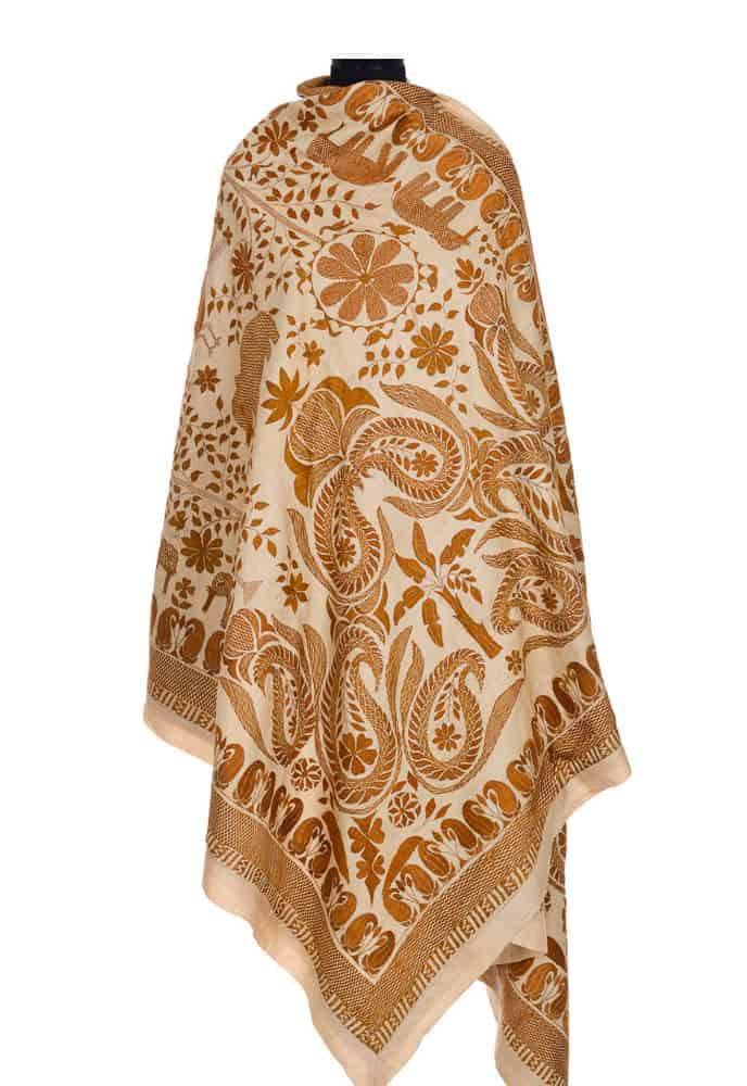 "M. Sikdar, Kantha embroidery, 2013, Tussar silk, 70""X 100"","