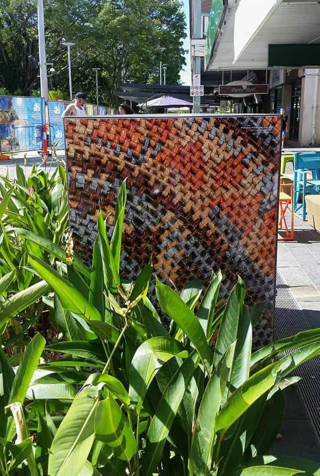 Philomena Yeatman basket imagery in Cairns, 2-16, Shields Street public art space