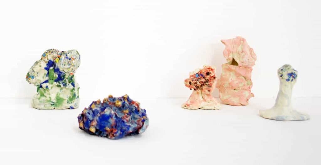 Irene Grishin-Seltzer (left to right), The Trees on That Hill, 2016, porcelain, glaze and underglaze, 6.5 x 5.5 cm; Electomagnetic, 2015, porcelain, glaze, underglaze and lustre, 3.5 x 5 cm; Everybody Has to See you Wait, 2016, porcelain, glaze and underglaze, 4.5 x 4 cm; Totem, 2016, porcelain, glaze and underglaze, 7 x 4 cm; Macrobotanical, 2016, porcelain, glaze and underglaze, 