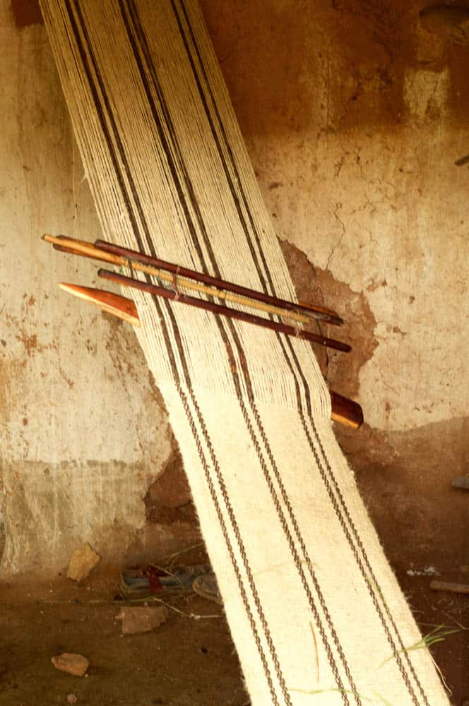 Simple wooden Slat Loom, photo by Nathan Crotty